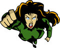 Superheroine flying comic book style illustrated super heroine Royalty Free Stock Photo