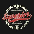 Superior denim, vintage urban brand graphic for t-shirt.