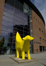 Superlambanana sculpture in liverpool uk may yellow sculptue located designed by manhattan based japanese artist taro chiezo Stock Photography