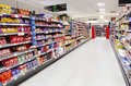 Supermarket aisle empty Royalty Free Stock Photo