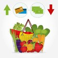 Supermarket basket with vegetables and the payment method full of fruit like tomato carrots watermelon apple banana pepper note Stock Images