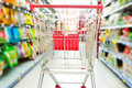 Supermarket cart interior empty red shopping Stock Photography