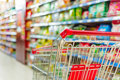 Supermarket cart interior empty red shopping Stock Photo