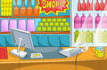 Supermarket cartoon with long shelfs vector background Royalty Free Stock Photo