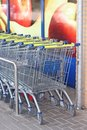 Supermarket carts of the lidl supermarket chain for discount prices in many european countries like germany denmark netherlands Royalty Free Stock Images
