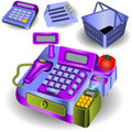 Supermarket cashier and other icons Stock Photography