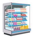 Supermarket dairy products preview racks with Royalty Free Stock Image