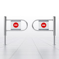 Supermarket entrance gate on white Royalty Free Stock Image