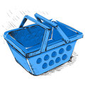 Supermarket food basket cartoon vector illustration Royalty Free Stock Photos