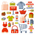 Supermarket grocery shopping flat style cartoon icons set with customers carts baskets food and commerce products