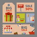 Supermarket grocery shopping retro cartoon cards set with customers carts baskets food and commerce products