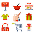 Supermarket grocery shopping retro cartoon icons set with customers carts baskets food and commerce products isolated