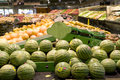 Supermarket grocery store lots of fruits and vegetables for sale in a healthy food market Stock Image
