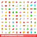 100 supermarket icons set, cartoon style