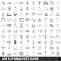 100 supermarket icons set, outline style