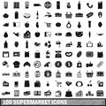 100 supermarket icons set in simple style