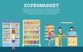Supermarket interior with grocery, milk packs
