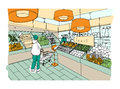 Supermarket interior hand drawn colorful illustration. Grocery store, vegetable department.