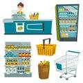 Supermarket object set, vector cartoon illustration