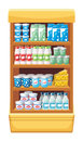 Supermarket products image shelves with dairy at the Royalty Free Stock Photos
