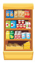 Supermarket products image of shelves with different in the Stock Photography