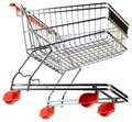 Supermarket pushcart cutout empty shopping trolley isolated on white background Stock Photography