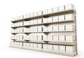 Supermarket shelf with boxes row of d render Stock Photography