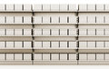 Supermarket shelf with boxes row of from front d render Royalty Free Stock Images
