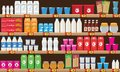 Supermarket, shelf with food and drinks package boxes. Price tag on racks. Illustration with flat and solid color design