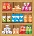 Supermarket shelfs with food image of a rack of wood the products in the store Stock Photo