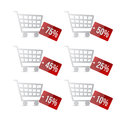 Supermarket shopping cart with discount tags illustration design over white Royalty Free Stock Image