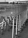 Supermarket shopping trollies photo of parked in a row Royalty Free Stock Image