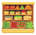 Supermarket vegetables and fruits image of shelves in a with Stock Images