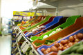 Supermarket vegetables in the vegetable aisle in the Stock Images