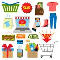 Supermarket web shopping cartoon set food and commerce products shop icons isolated on white vector illustration. Royalty Free Stock Photo