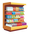Supermarket wooden shelves with products in the Royalty Free Stock Photography