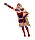 Supermom die met babyillustratie vliegen Stock Afbeelding
