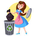 Supermom a woman in an apron throws trash Royalty Free Stock Photography