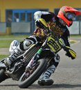 Supermoto drifting on the circuit of ottobiano Stock Images