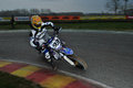 Supermoto flash in action on ottobiano s circuit Stock Photos
