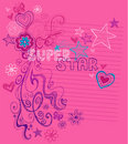 Superstar Sketchy Notebook Doodles Royalty Free Stock Photography