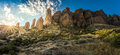 Superstition mountains a sunrise at the in arizona Stock Photos