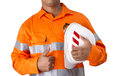 Supervisor with construction hard hat and high visibility shirt