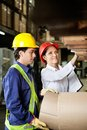 Supervisor and foreman checking stock young female at warehouse Stock Photography