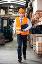 Supervisor in a hurry at warehouse portrait of young Royalty Free Stock Photography