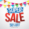 Supper sale vector design with 50% off and hanging colorful streamers