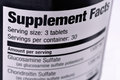Supplement facts closeup of a bottle of nutritional supplements Stock Image