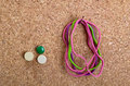Supplies on Cork Board Royalty Free Stock Photo