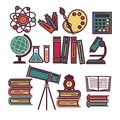 Supplies for education and scientific researches illustrations set Royalty Free Stock Photo