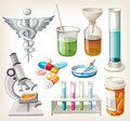 Supplies used in pharmacology for preparing medicine set of Royalty Free Stock Photography